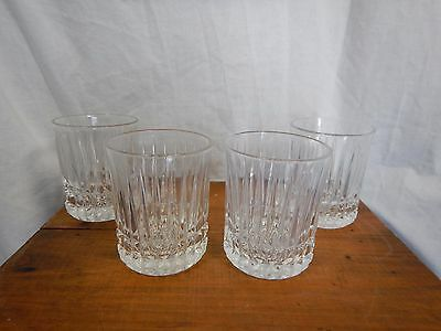 """Set of 4 Clear Cut Glass Whisky Tumblers Old Fashion Drink Glasses 4"""""""