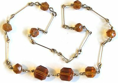 Antique EDWARDIAN 1900s Rolled Gold & Amber Colour Glass NECKLACE