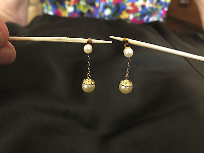 9ct Gold Vintage Twin Cultured Pearl Earrings