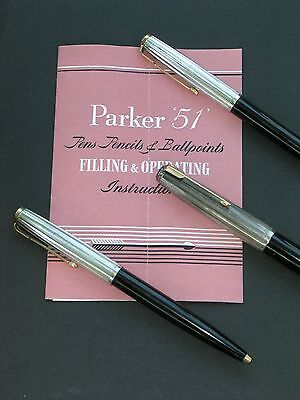 Parker 51 TRIPLE TRIO Pen Set ROLLED SILVER CAPS, Box and Cardboard Sleeve