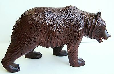 Antique Black Forest Hand Carved Wooden Bear. Walking or Prowling Bear.