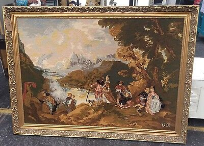 Huge Royal Paris Vintage Needlepoint Tapestry Embarkation For Cythera