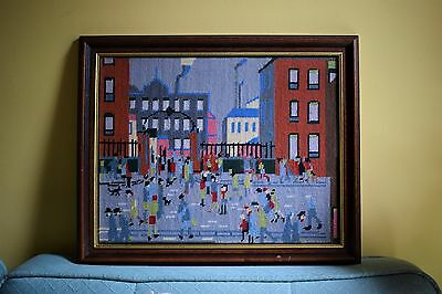 Vintage L.S Lowry Factory Tapestry Embroidery Needlepoint Picture