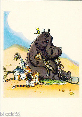 """1962 Russian card HIPPO IS UPSET IN AFRICA drawing by V.Suteev to """"Aibolit"""""""
