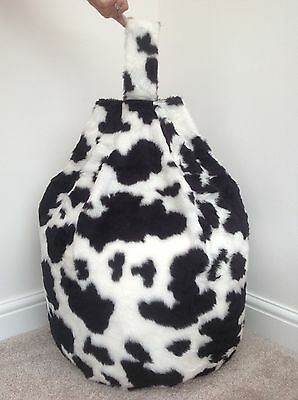 Cover Only Black & White Cow Faux Fur 3 Cubic Feet Size New Luxurious Children