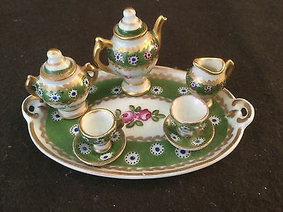 Antique 8 Piece Limoges Miniature Teaset Teapot Tray Sugar Green Gold Roses
