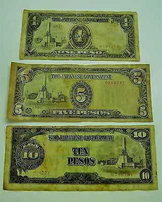 1940's Lot of 3 Japanese Government WWII Bank Notes 1/5/10 Peso Banknotes