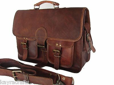 Men's Vintage Brown Genuine Leather Backpack Messenger Satchel Shoulder  Bag