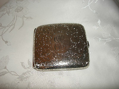 Vintage Beautiful Sterling Silver Cigarette Engraved Holder Case With Stone