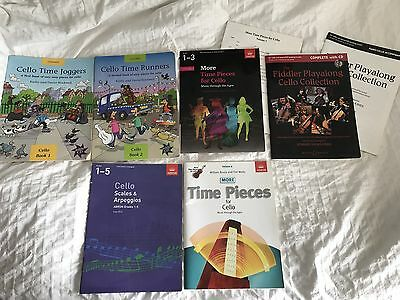 Set Of Cello Books And Bow Up To Level 3