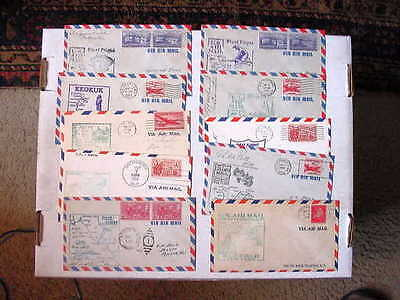 Nice Group OF 10 COVERS!! / US Air Mail First Flight Cancels dated 1947 to 1960