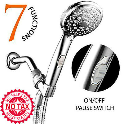 Handheld Shower Head 7-Setting AquaCare Series Spiral 5-7ft Stainless Steel Hose