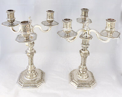 CHRISTOFLE France ~ A rare pair of 3 light silver plate Candelabra-Candlesticks