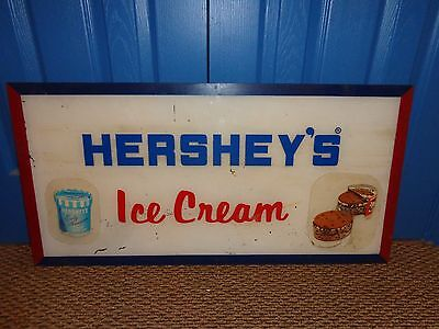 Vintage Hershey's Ice Cream Advertising Light Display Sign Panel