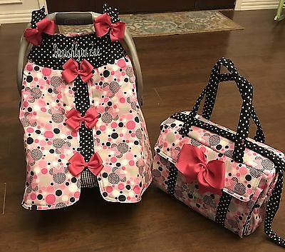 Brand-New Minnie Mouse Handmade Baby Infant Car Seat Canopy& Diaper Bag