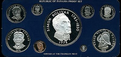 Panama 1975 9-Coin Sterling Silver Proof Set with Box and COA