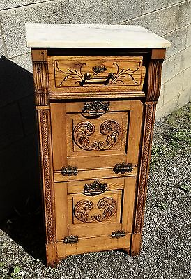 Victorian Marble Top Oak Barber Cabinet