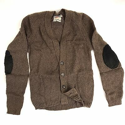 Vintage 40s 50s Rugby Sportswear Cardigan Sweater Elbow Patches Boys Size 16