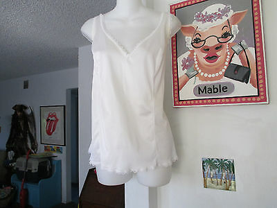 Vintage SEARS White Antron Nylon Camisole  Dainty Lace, Adjustable Straps sz 42