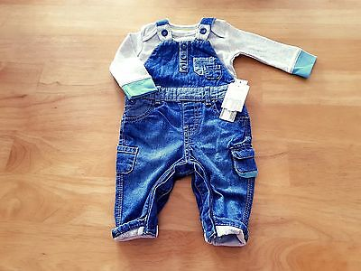 MOTHERCARE Baby Boy Clothes 2 Piece Dungaree & Bodysuit Set Age 0-3m BNWT