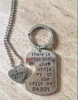 Fashion Letter Heart Keyring Necklace Daddy Daughter -For Father's Day Dad