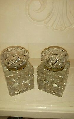 Pair of   quality cut crystal victorian Inkwells