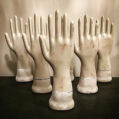 Collection Of Seven Vintage Porcelain Glove Molds - Industrial - Mannequins