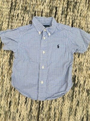 Baby Designer Polo Ralph Lauren Blue Check Shirt Small Pony Size 24M REP: £30