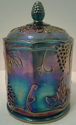 "Vintage Indiana Glass 7"" Purple Carnival Glass Grape Pattern Cookie Biscuit Jar"
