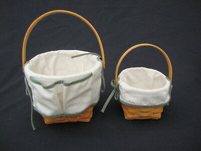 2 Longaberger Baskets Hand Woven Signed w Cotton Liners Copper Hinge Handle 2001