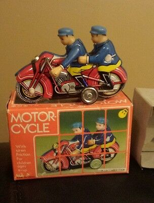 """Vintage Friction Motorcycle Police Cop Tin Litho w/ Box MIB Rare 6"""" 2 officers"""