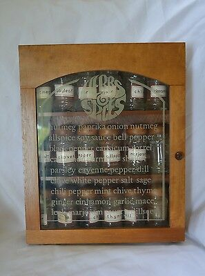 Vintage Spice Rack Wood Glass Herbs and Spices Cabinet Gailstyn-Sutton Jars Rare