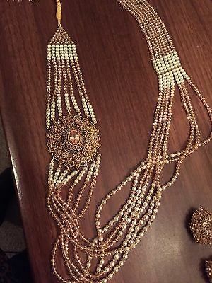 Pakistani designer Gold plated Necklace (Malla)with Tourmaline  And Pearls