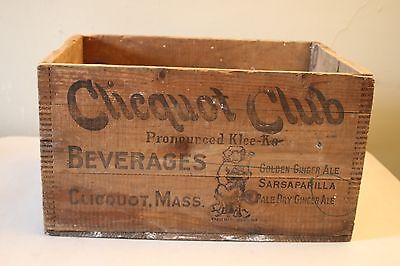 Vintage Wooden Crate Clicquot Club Soda Beverage