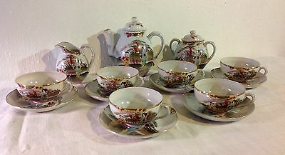 Ancien SERVICE A THE /CAFÉ  en PORCELAINE FINE du JAPON decors peint Main