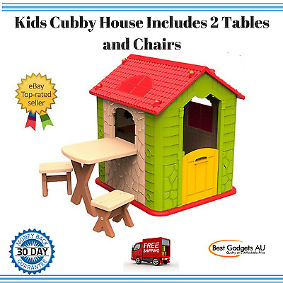 NEW Cubby House Kids Indoor Outdoor Playhouse Pretend Play Table Chairs