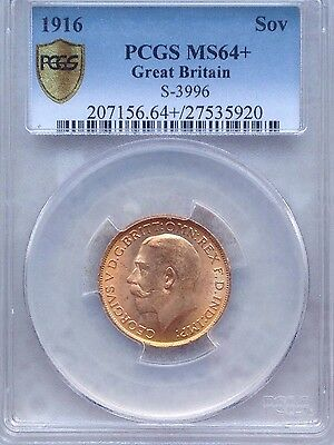1916 King George V London Mint Gold Sovereign PCGS 64+