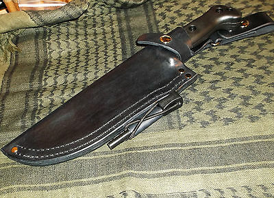 Ka-Bar Becker BK7 Custom Made Leather LH Belt Dangle Style Sheath, Black