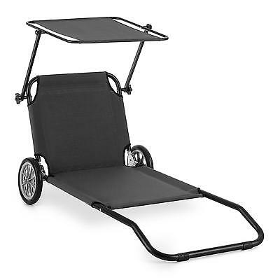 Aluminium Lounger Beach Chair Garden Home Recliner Sunshade Wheels Folding  Grey