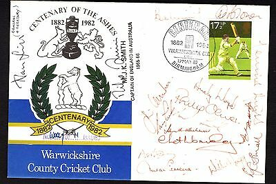 Warwickshire County Cricket Club FDC - Centenary 1982 - 18 signatures + inserts