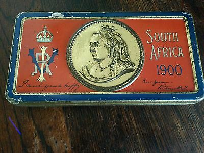 Antique victorian royal tin queen victoria very  rare 1900 south africa tin.