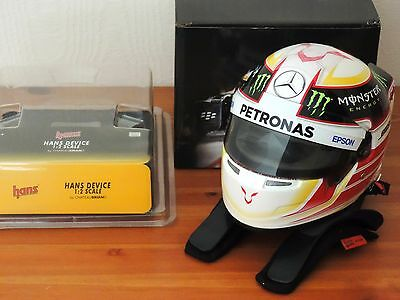 Lewis Hamilton 1:2 Helmet with HANS device model set Mercedes 2015 Lid Bell BNIB