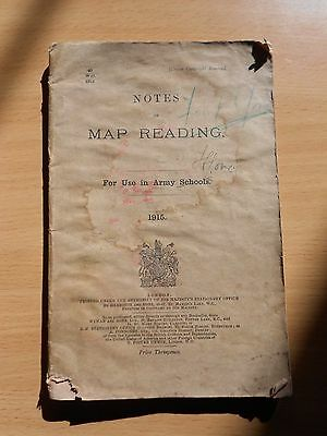 """WW1 (1915) British Army """"NOTES ON MAP READING"""" Training Manual (HMSO)"""