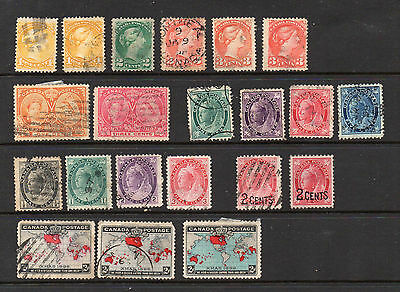 Canada  Qv 21 Different Stamps - 20 Used, 1 Mint Hinged