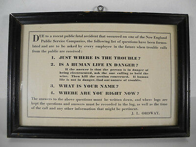 1950's Framed New England Public Service Company Incident Caller Questions
