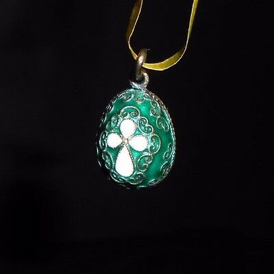 Russian Faberge Egg Pendant Sterling Silver 925 Gold Plated Green White Cross