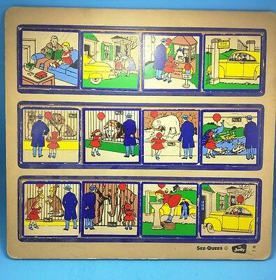 See-Quees by Judy - Wooden Framed Tray Puzzle Cartoon - Trip to the Zoo