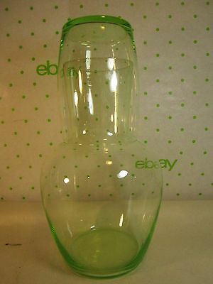 """Green Glass Carafe Tumble Up 7.25"""" tall x 4"""" wide  Thin Glass No Makers Mark"""