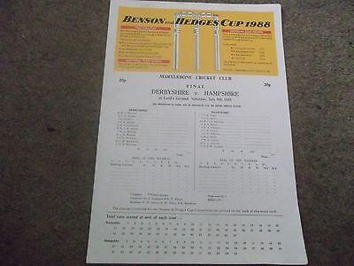 1988 Benson & Hedges Cup Final Derbyshire V Hampshire @ Lords 9Th July
