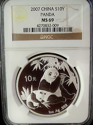 2007 China Panda 10 Yuan NGC MS69 1 Ounce Silver Coin